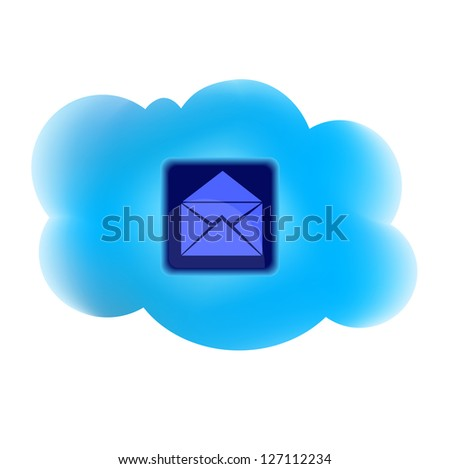 Clouding technology computing concept with mail icon