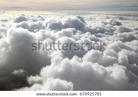 clouds and beautiful view on plane