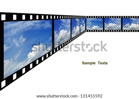 clouds  and blue sky with film strip isolated on white background