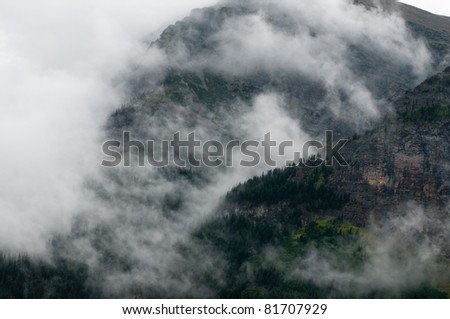 Clouds and fog in Many Glacier, Glacier National Park, Montana