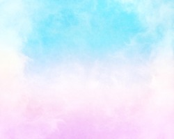 Clouds and fog with a pink to cyan-blue gradient.  This image has a paper texture background for added depth and mottling; a pleasing grain and texture is visible when viewed at 100 percent.