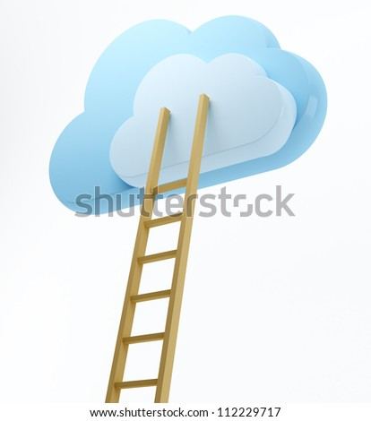 Clouds and ladder - stock photo