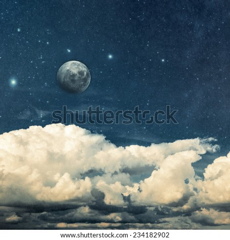 clouds and moon on a textured vintage paper  background Elements of this image furnished by NASA