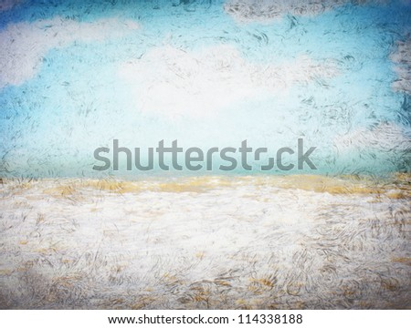 clouds and sea waves  on old paper texture background. grunge effect