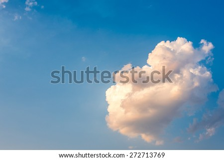 clouds and sky with sun beam light, dark white and gold color of clouds in evening time