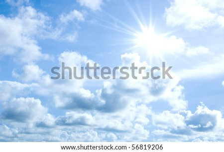 Clouds and sky with sun shining background wallpaper