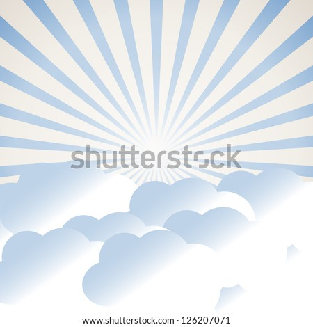 clouds and sun rays (raster version of the vector)