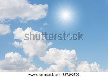 Clouds and sun with blue sky background #337392509