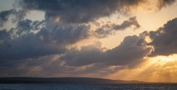 Clouds and sunrays in Bonaire, Netherlands Antilles.