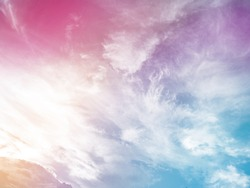 Clouds background with pastel color, Bright beautiful rainbow sky, Colorful gradation cloudy concept