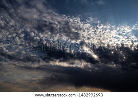 Clouds, blue sky, sunrise or sunset #1482992693