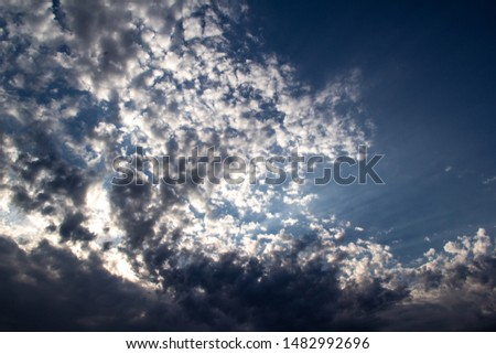 Clouds, blue sky, sunrise or sunset #1482992696