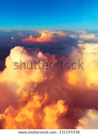 Clouds. bright morning dawn in the sky. sunset with a height of 10 000 km. Top view.