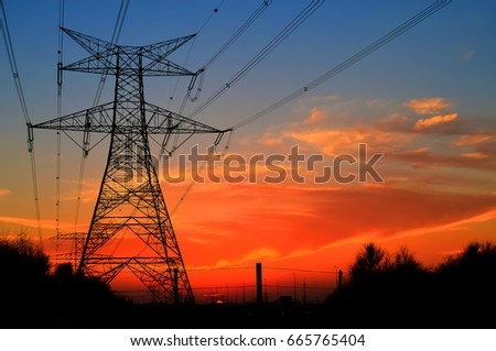 Clouds/ Electrical Tower/ Transmission Tower/ Transmission Line/ Sunset #665765404
