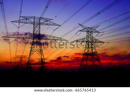 Clouds/ Electrical Tower/ Transmission Tower/ Transmission Line/ Sunset #665765413