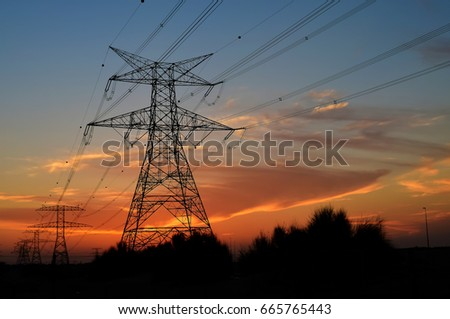 Clouds/ Electrical Tower/ Transmission Tower/ Transmission Line/ Sunset #665765443