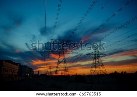 Clouds/ Electrical Tower/ Transmission Tower/ Transmission Line/ Sunset #665765515