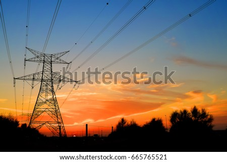 Clouds/ Electrical Tower/ Transmission Tower/ Transmission Line/ Sunset #665765521