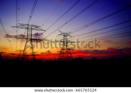 Clouds/ Electrical Tower/ Transmission Tower/ Transmission Line/ Sunset #665765524