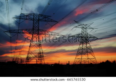 Clouds/ Electrical Tower/ Transmission Tower/ Transmission Line/ Sunset #665765530
