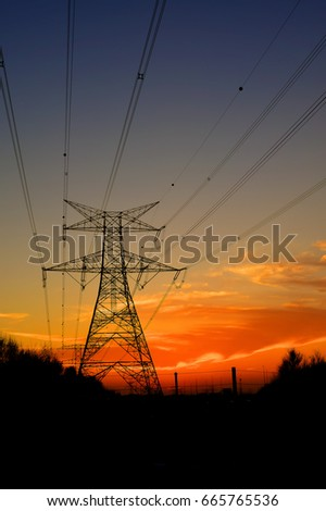 Clouds/ Electrical Tower/ Transmission Tower/ Transmission Line/ Sunset #665765536