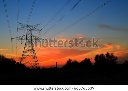 Clouds/ Electrical Tower/ Transmission Tower/ Transmission Line/ Sunset #665765539