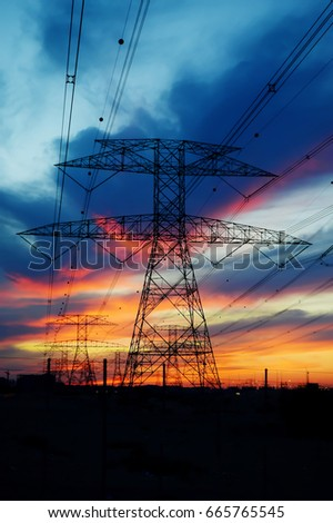 Clouds/ Electrical Tower/ Transmission Tower/ Transmission Line/ Sunset #665765545