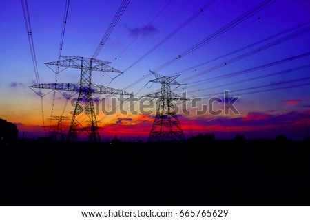 Clouds/ Electrical Tower/ Transmission Tower/ Transmission Line/ Sunset #665765629