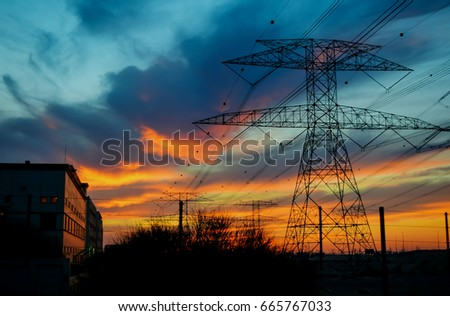Clouds/ Electrical Tower/ Transmission Tower/ Transmission Line/ Sunset #665767033
