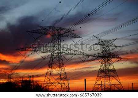 Clouds/ Electrical Tower/ Transmission Tower/ Transmission Line/ Sunset #665767039