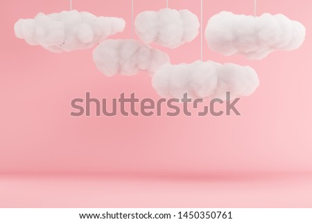 Clouds Hanging on pink room background. minimal idea concept. 3D render.