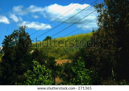 clouds, hill, side,