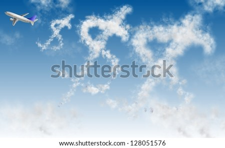 Clouds in a shape of dollar symbol and an airplane / Flying dollar