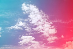 Clouds in bright colorful tinting. Sun and cloud background with pastel. background