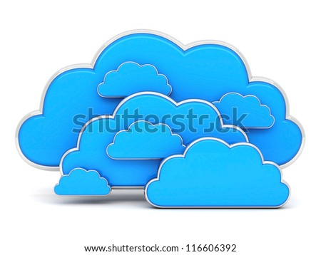 Clouds in 3D isolated on a white background