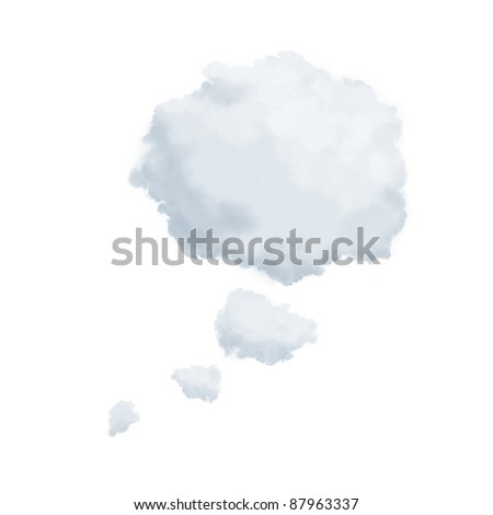 Clouds in shape of a thinking bubble isolated on white