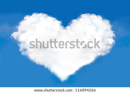 Clouds in the form of heart on a background of blue sky.