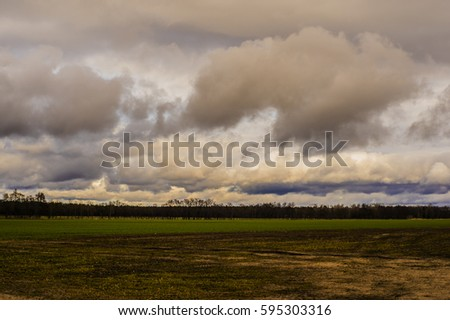 Clouds landscape in winter in Germany #595303316