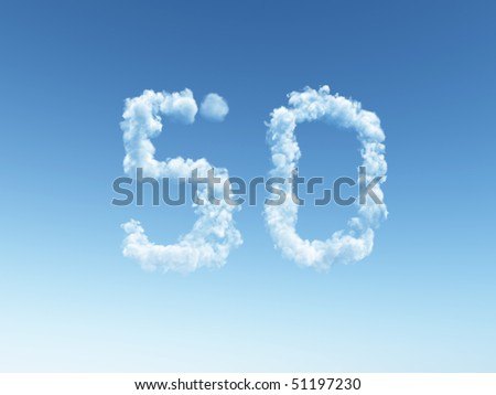 clouds makes the shape of number fifty - 3d illustration - stock photo