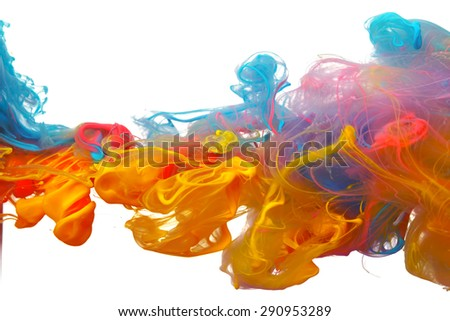 Stock Photo Clouds of bright colorful ink mixing in water