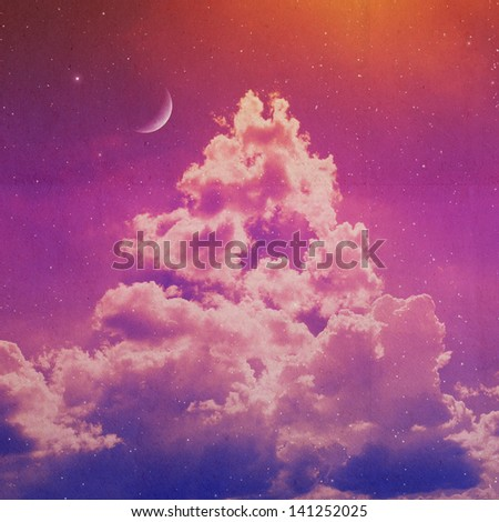clouds on a textured vintage paper background, with grunge stains