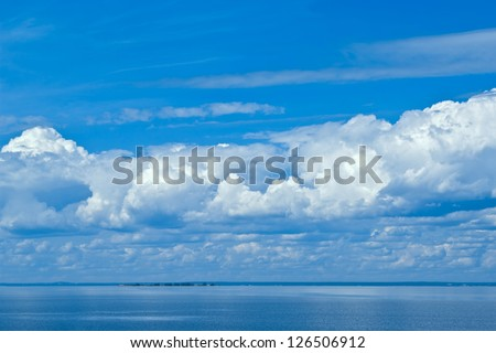 clouds on blue sky above the sea