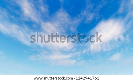 Clouds on blue sky background , 3D rendering #1242941761