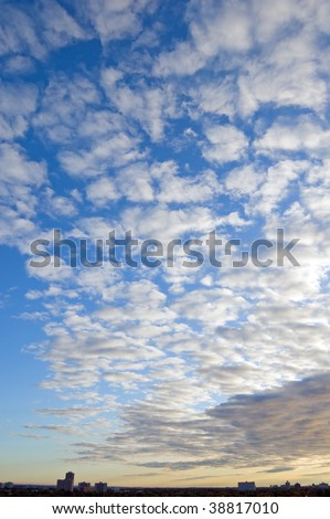 Clouds on sky above Toronto at the morning