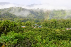 Clouds or Mist and Rainbow Over Mountains and Lush Green Tropical Jungle of Mindo, Ecuador, South America