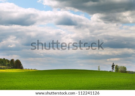 Clouds over green grass.