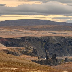 Clouds over mountain range, Norourping, Northeastern Region, Iceland