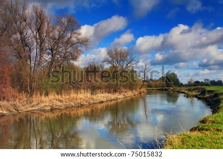 Clouds over the river in early spring