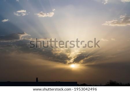 Clouds paisaje amanecer Dawn. Landscape. Sun Foto stock ©