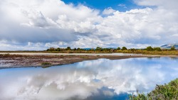 Clouds reflected in the wetlands of Don Edwards National Wildlife Refuge, South San Francisco Bay Area, Alviso, San Jose, California